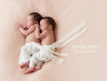 צילומי ניו בורן תאומים על רקע וורוד - אנדה יואל