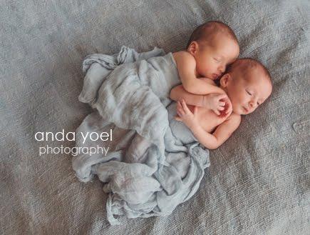 בני חודשיים עטופים בבד תכלת בצילומי ניובורן תאומים בסטודיו - אנדה יואל