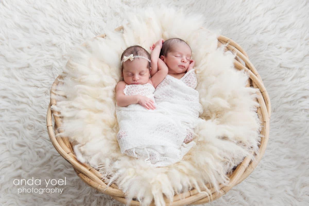 צילומי ניובורן תאומים בסלסלה עגולה בן ובת באור טבעי - אנדה יואל