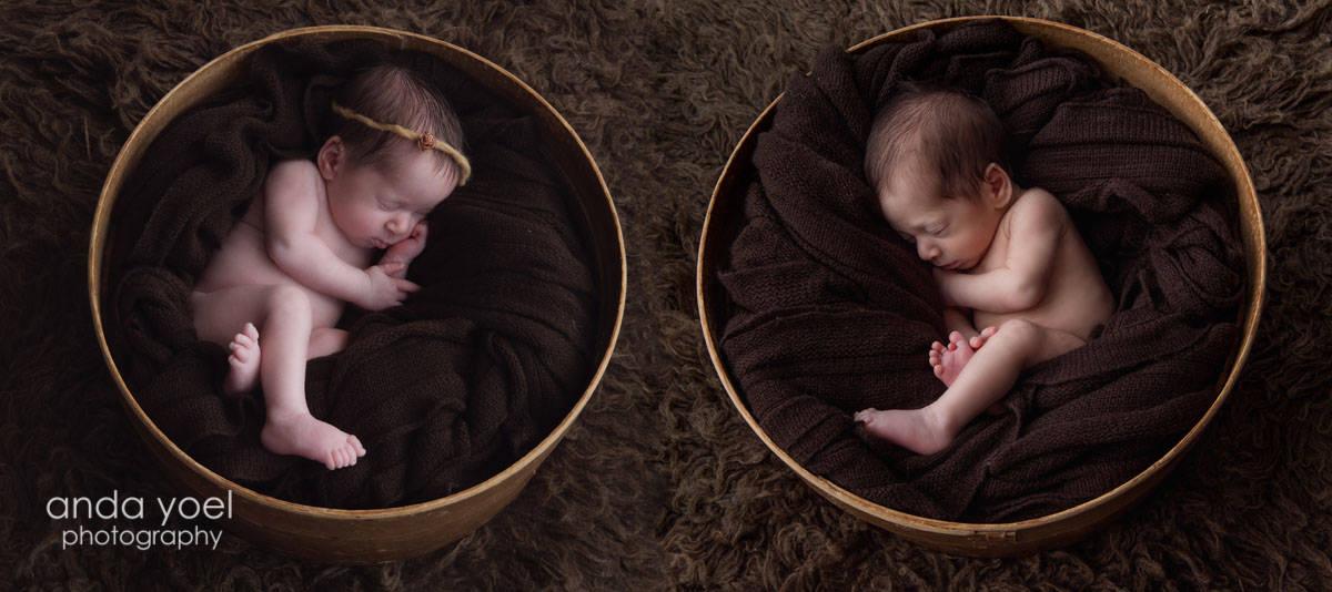 בן ובת ניובורן תאומים בתוך סלסלות חומות עגולות בצבע חום התינוקת עם סרט חום על ראשה - מסדרת צילומי ניובורן תאומים אנדה יואל