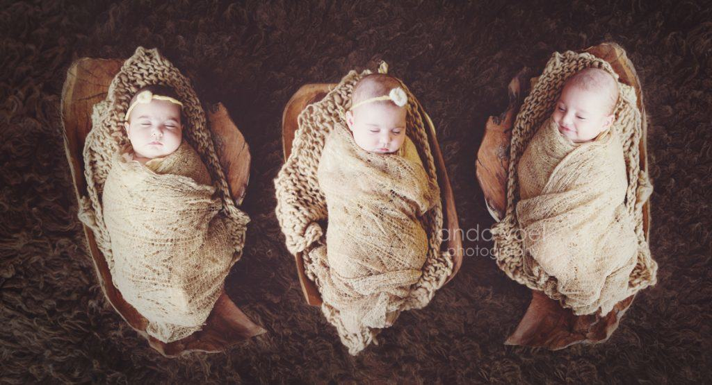 2 בנות ובן תינוקות ניובורן בסלסלות עץ חומות מסדרת צילומי שלישיות - אנדה יואל