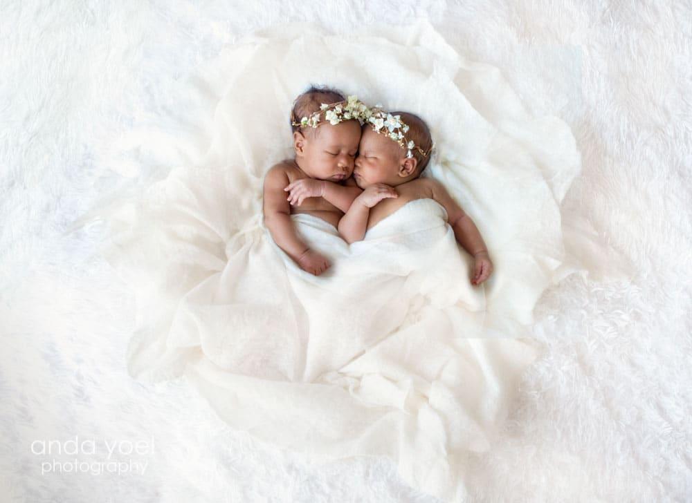 צילומי ניובורן תאומים בסטודיו שטוף אור טבעי - אנדה יואל