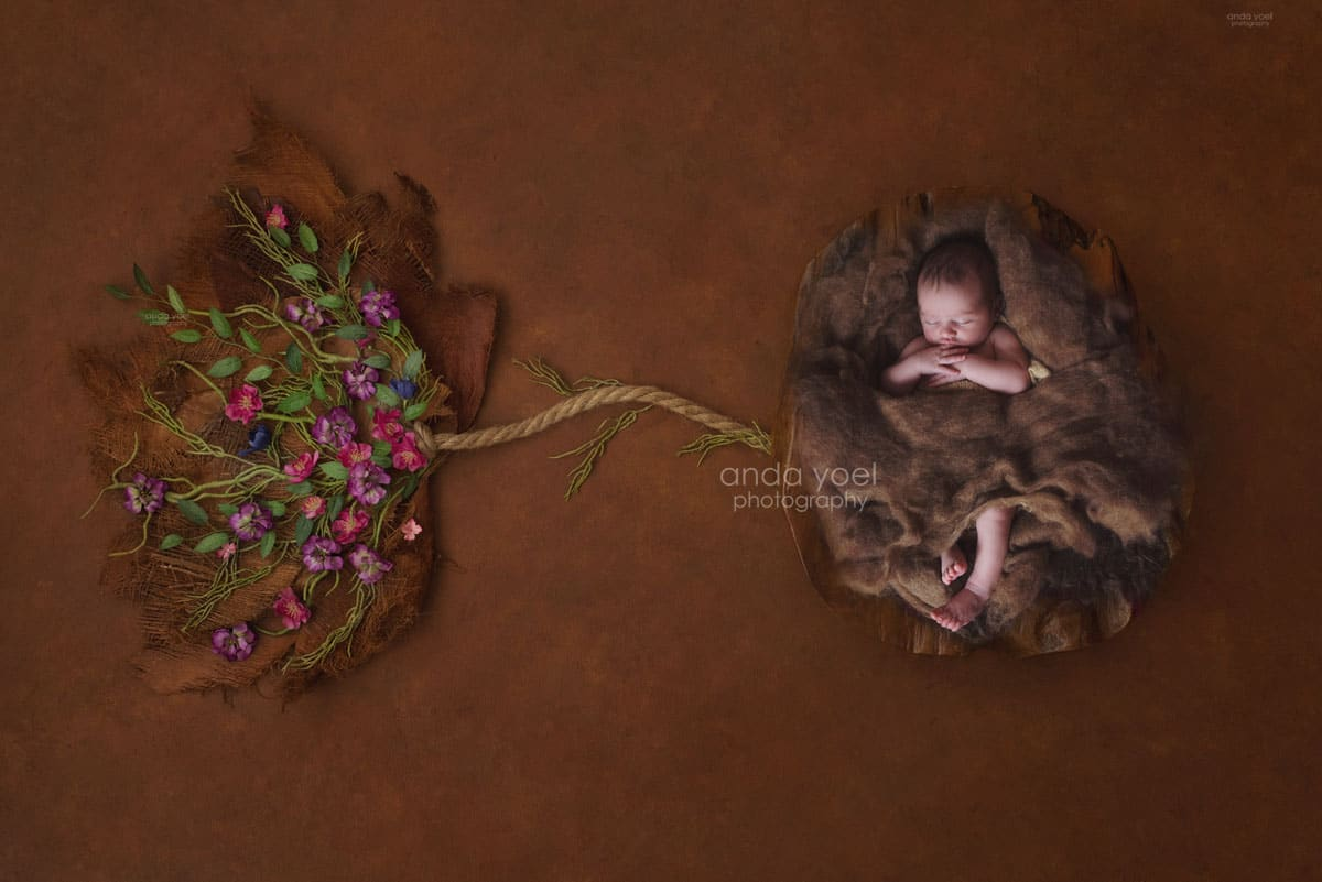 צילומי ניובורן בתוך קיפת עת פורחת בעריכת פוטושופ מורכבת, אנדה יואל