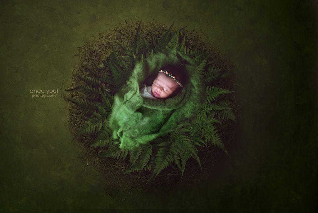 תינוקת ניובורן בעיטוף ירוק על רקע מצע של עלים ירוקים - אנדה יואל
