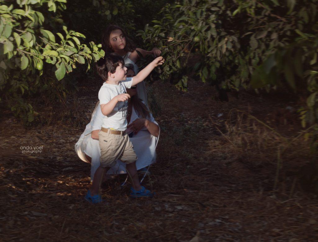 צילומי ילדים ומשפחה בטבע - משפחת שדה - אמא וילדיה בתוך פרדס הילד מצביע על קלמנטינה - אנדה יואל