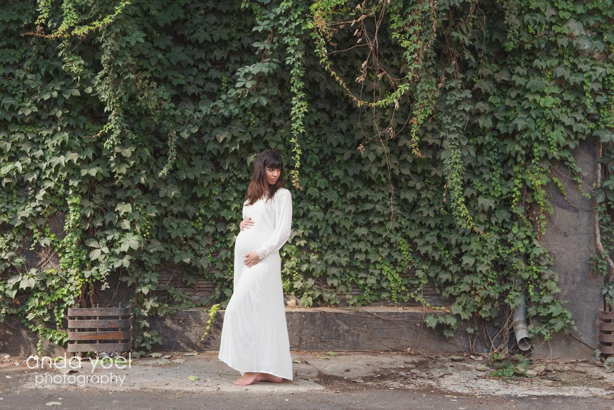 צילומי הריון בתל אביב על רקע קיר פורח - צילום אנדה יואל