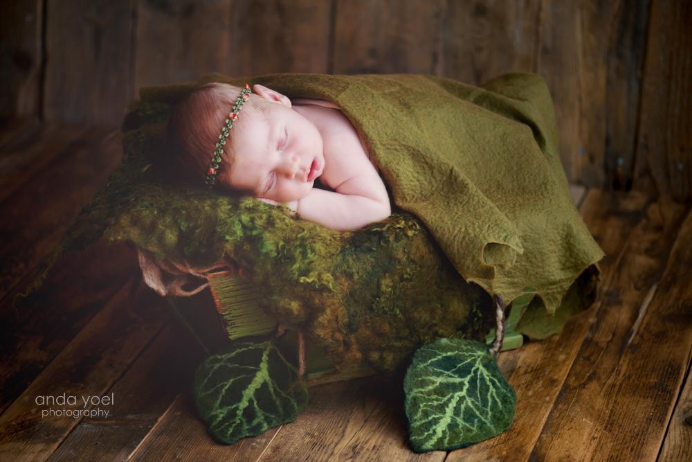 בייבי ניובורן על רקע ירוק - צילומי ניובורן אנדה יואל