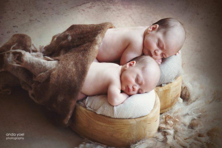 צילומי ניו בורן תאומים בסלסלת לב - אנדה יואל