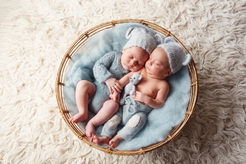 צילומי ניו בורן תאומים בסלסלה עגולה - סטודיו אנדה יואל