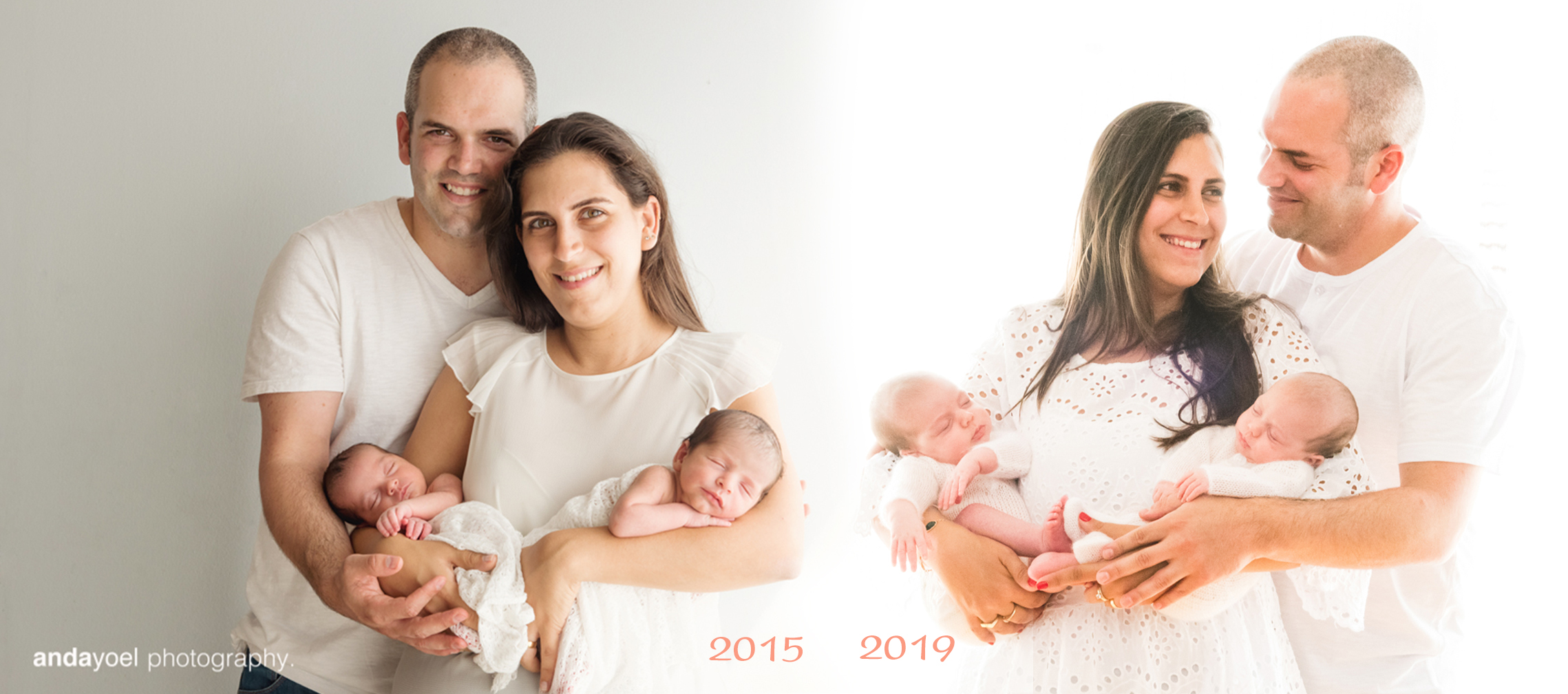 צילומי ניובורן תאומים 2015 ו 2019 - משפחת באשי פולישוק - אנדה יואל