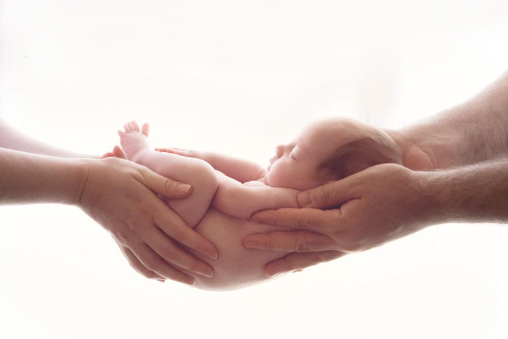 צילומי ניו בורן תינוק בידיים של אמא ואבא - אנדה יואל